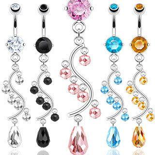 Piercing nombril Chandelier cristal