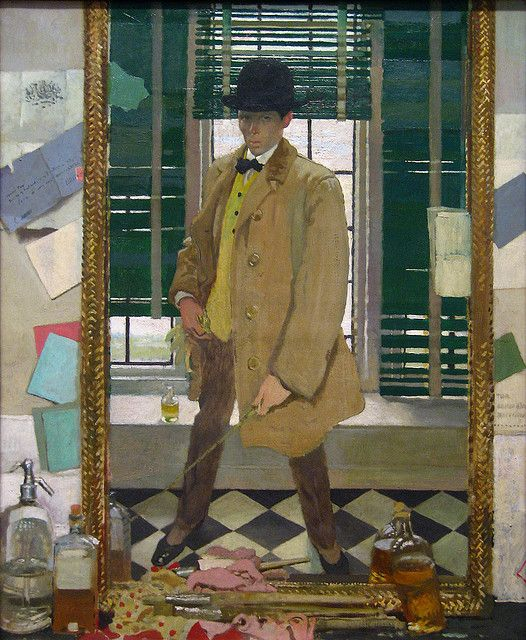Self-Portrait, ca. 1910 William Orpen (British, 1878–1931) Oil on canvas; 40 1/8 x 33 1/8 in. (101.9 x 84.1 cm) Gift of George F. Baker, 1914 (14.59)  Born in Ireland, William Orpen studied in Dublin from 1892 to 1896 and went to London for further study at the Slade School of Fine Art in 1896. For the rest of his life, he lived and worked in London. There he received a number of honors, including membership in the New English Art Club, a governmental appointment as an official war artist…