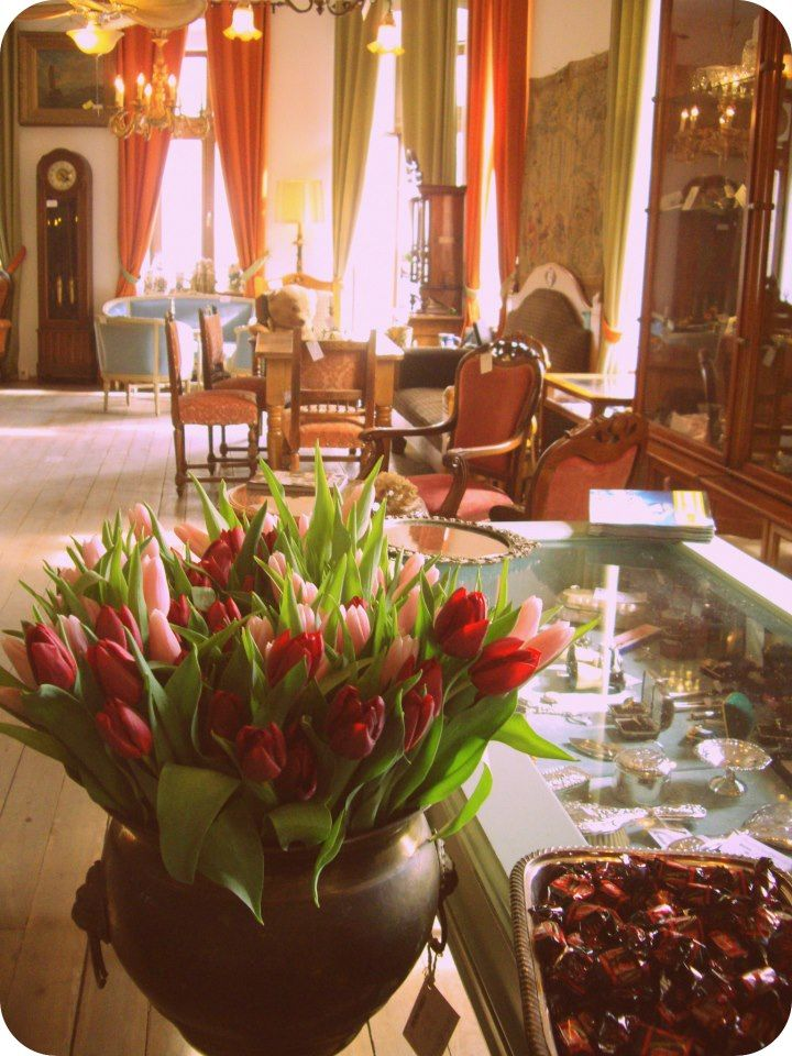 Gift shop in Bucharest. Flowers in antique shop. Tulips on a vase.