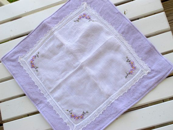 Burp Cloth, Vintage Handkerchief, Violet, purple, lace and floral embroidery. $14.00, via Etsy.