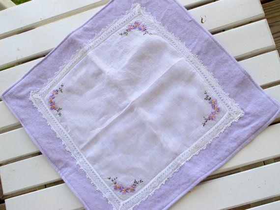 Burp Cloth, Vintage Handkerchief, Violet, purple, lace and floral embroidery. $14.00, via Etsy.