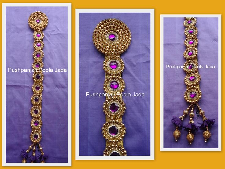 Beads Jada made with gold beads and kundan applique