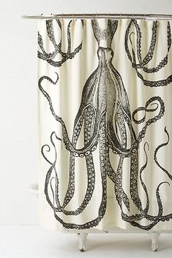 Octopus Garden Shower Curtain - eclectic - shower curtains - Anthropologie