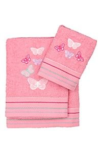 EMBROIDERED MULTI BUTTERFLY TOWEL