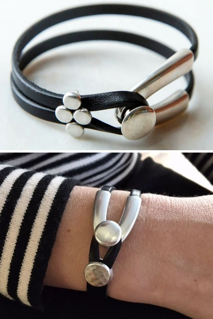 Leather And Silver Bracelet Womens