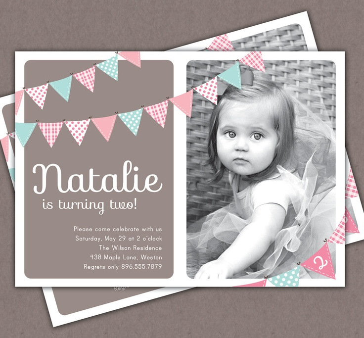 First Birthday Invitation Bunting Flags Banner Photo [Printable Invite]