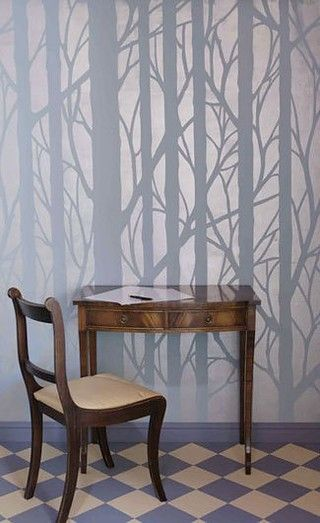 wall stencil / could get this effect using a thin coat of poly with the stencils for a color on color.