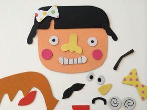 何度も貼ったりはがしたりできるマグネット遊び。 沢山パーツを作って、みんなで色々な顔を作ってみよう! アレンジ自在の、おもしろ手作りおもちゃ。