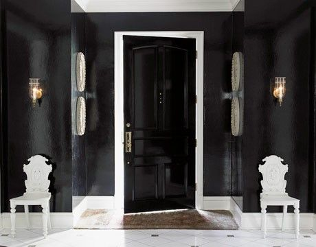 contrast: Black Magic, Black Doors, Black Interiors Doors, Black And White, Interiors Design, House, Lacquer Wall, Black Rooms, Black Wall