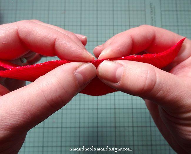 DIY Crepe Paper Poinsettia.  Mitered crepe paper leaves tutorial.