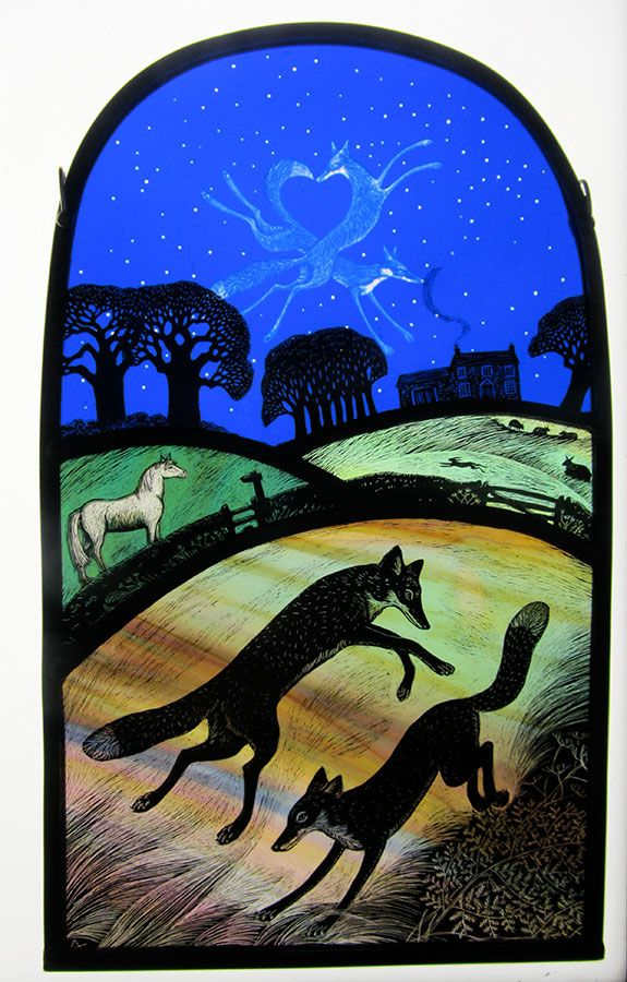 """""""Love Foxes II"""" by stained glass artist Tamsin Abbott"""