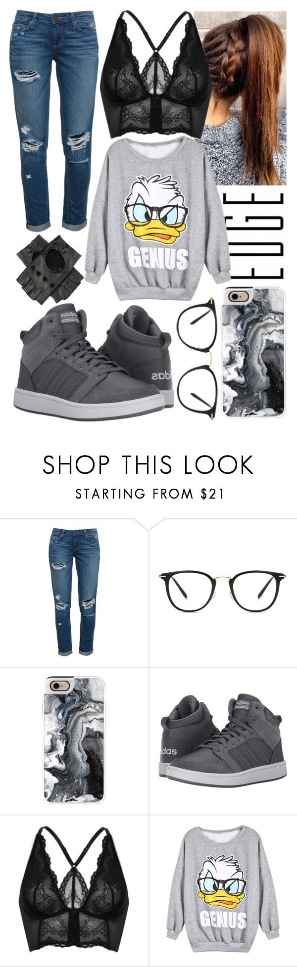 """Hide"" by blom-sofie ❤ liked on Polyvore featuring Paige Denim, Casetify, adidas, Gossard and Black"