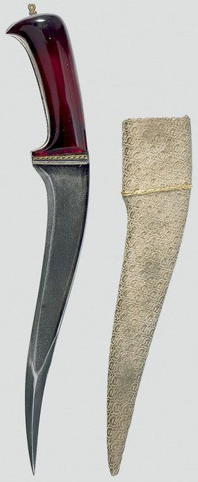 Indian pesh kabz dager, 18th century, damascus steel blade, colored glass hilt.