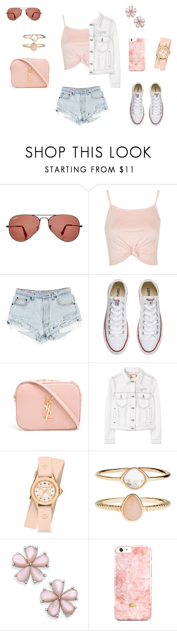 """Rosé"" by xxnadjaxxsc ❤ liked on Polyvore featuring Ray-Ban, Topshop, Converse, Yves Saint Laurent, MANGO, Michele and Accessorize"
