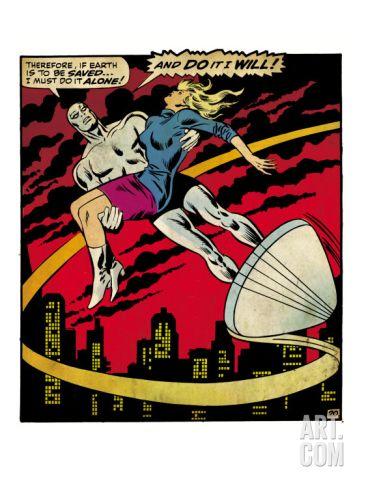 Retro Comic Art | Marvel Comics Retro: Silver Surfer Comic Panel, Saving the girl (aged ...