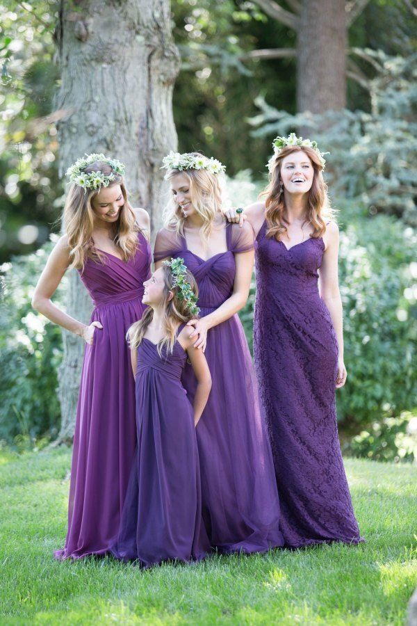 Bari Jay Purple Mismatched Bridesmaid Dresses / http://www.deerpearlflowers.com/mix-n-match-bridesmaid-dresses/2/