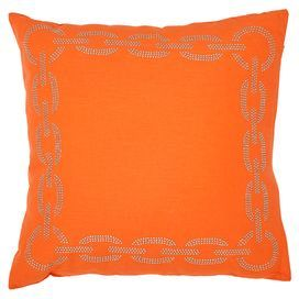 sibine set of two cotton pillows with an embroidered chain link border product set