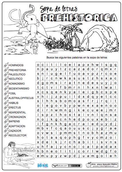 Sopa de letras prehistórica