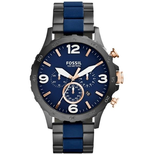 Fossil Men's Chronograph Nate Blue Silicone and Black Ion-Plated... ($165) ❤ liked on Polyvore featuring men's fashion, men's jewelry, men's watches, no color, mens chronograph watch, mens bracelet watch, mens watch bracelet, mens watches jewelry and mens stainless steel watches
