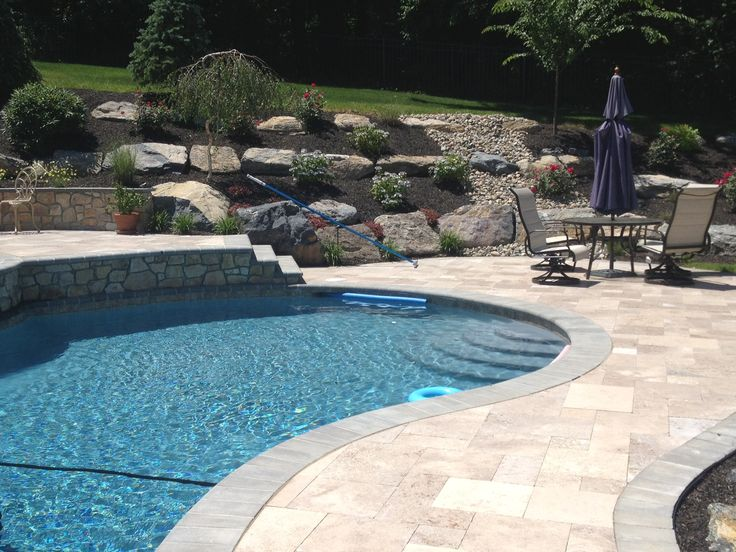 Pool landscaping with boulders go to for Pool design retaining wall