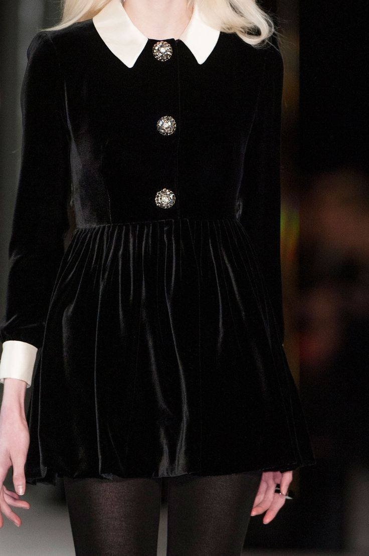 Saint Laurent Fall 2014 in Paris, velvet dress. Visit http://www.karenannlettiere.com for more styling information and tips!