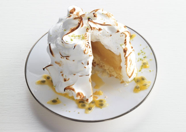 Baked Hawaiian Islands  Classic baked Alaska is turned on its head with these individual desserts from Elizabeth Falkner of San Francisco's Citizen Cake. Coconut, pineapple, passion fruit, and a rum-soaked sorbet lend a tropical twist. To save time, use store-bought pineapple sorbet.