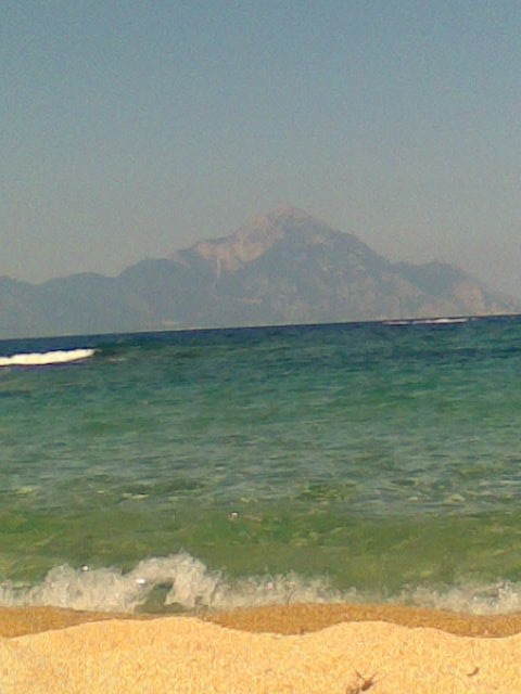 View on Monte Athos from beach of Sarti, Chalkidiki