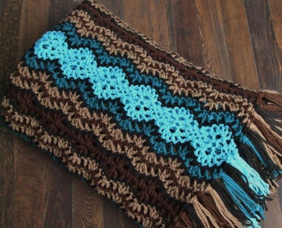 Reserved For Cassidy Striped Afghan In Brown Turquoise