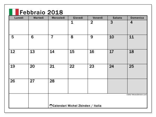 Calendario febbraio 2018, Italia