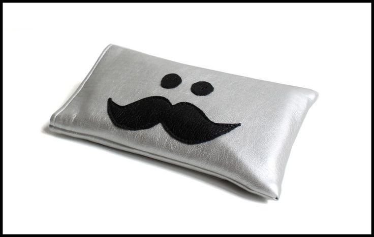 Étui Mr. Moustache pour smartphone en simili argenté et noir