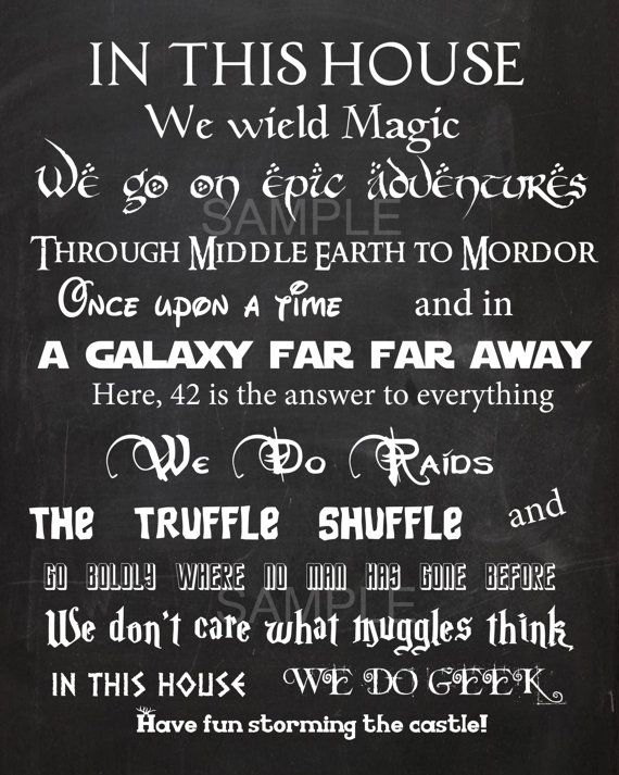 In this House We Do Geek- inspired Vinyl wall Decal Fantasy star wars harry potter the hobbit bazinga trek geekery hogwarts mario nintendo Repinned by Apraxia Kids Learning. Description from pinterest.com. I searched for this on bing.com/images