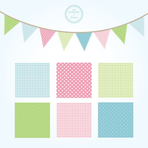 Free shabby chic graphics / clip art for your blog: bunting and fabric swatches.