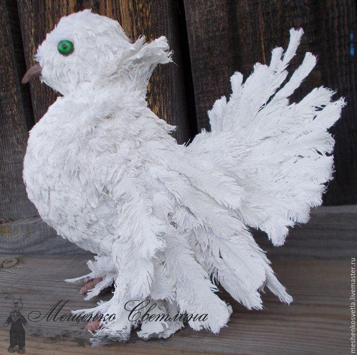 Купить Голубь птица. Текстиьная интерьерная игрушка. - белый, птица, птицы, подарок на свадьбу