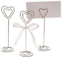 24x Heart Shape Table Number Holder Place Card Holders Wedding Clips Stands