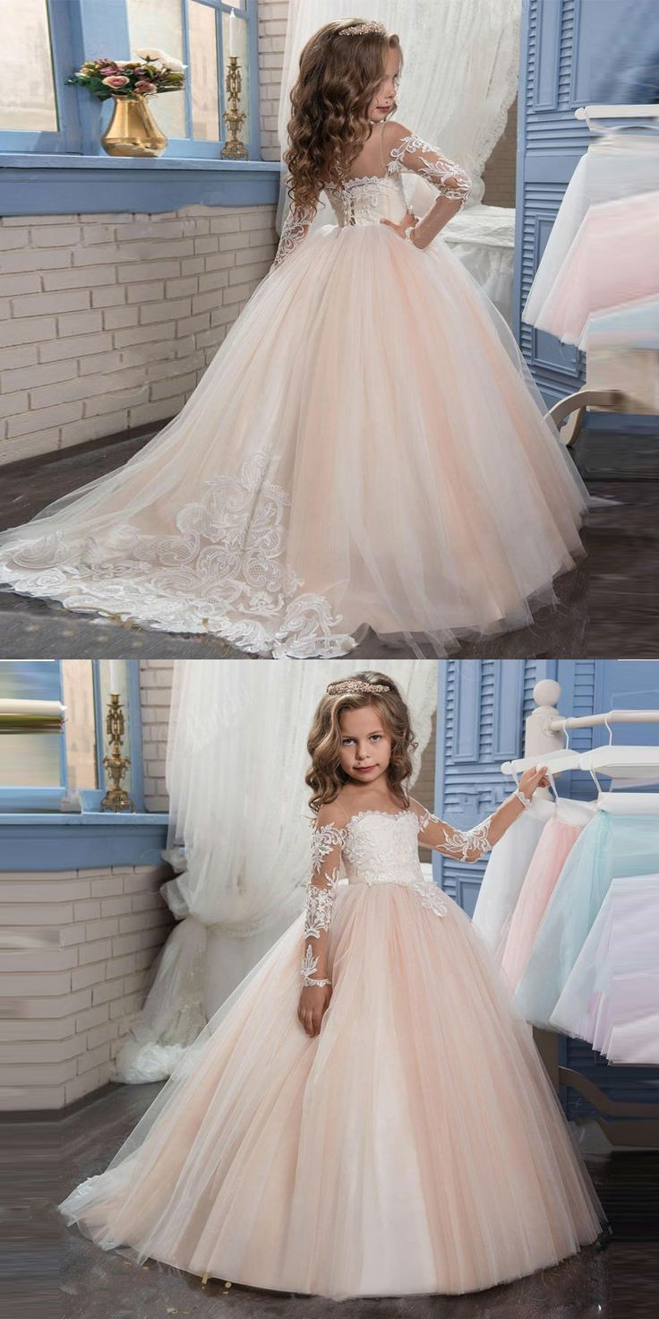 2017 Lowime Champagne First  Communion Dresses For Girls Lace Ball Gown Flower Girl Dress Kids Evening Gowns vestido de daminha