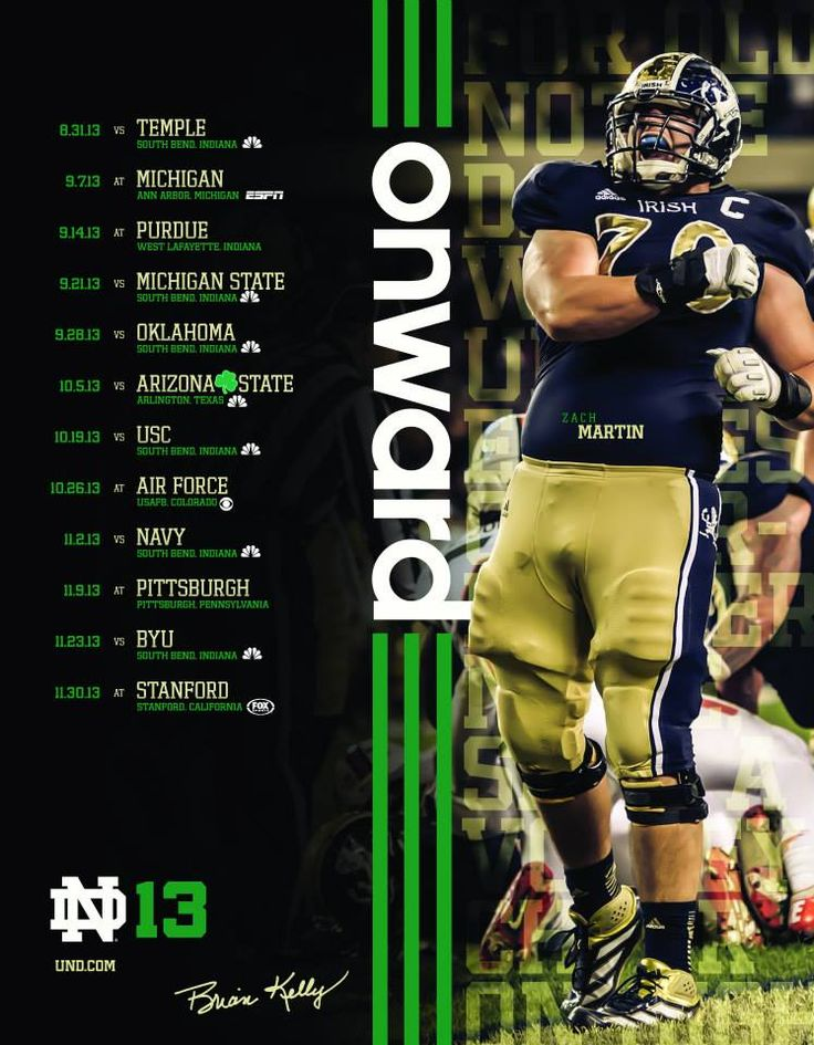 NOTRE DAME FOOTBALL SCHEDULE