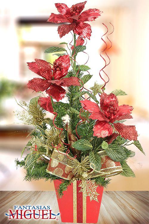 Arreglo nochebuena rojo navidad 2014 adorno for Arreglos navidenos para mesa