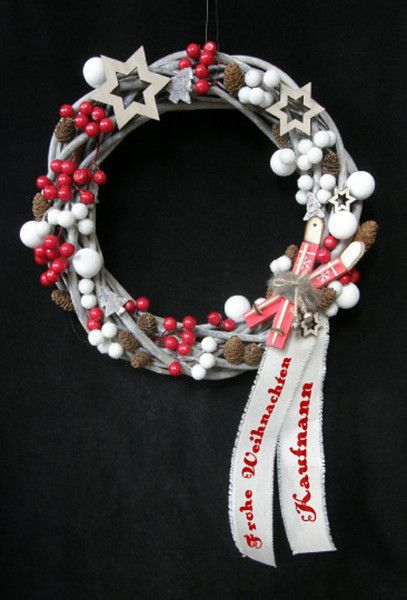 Christmas Wreaths – WISH TEXT ADVENT CHRISTMAS DOOR WREATH WITH – a unique product by Candelita123 on DaWanda