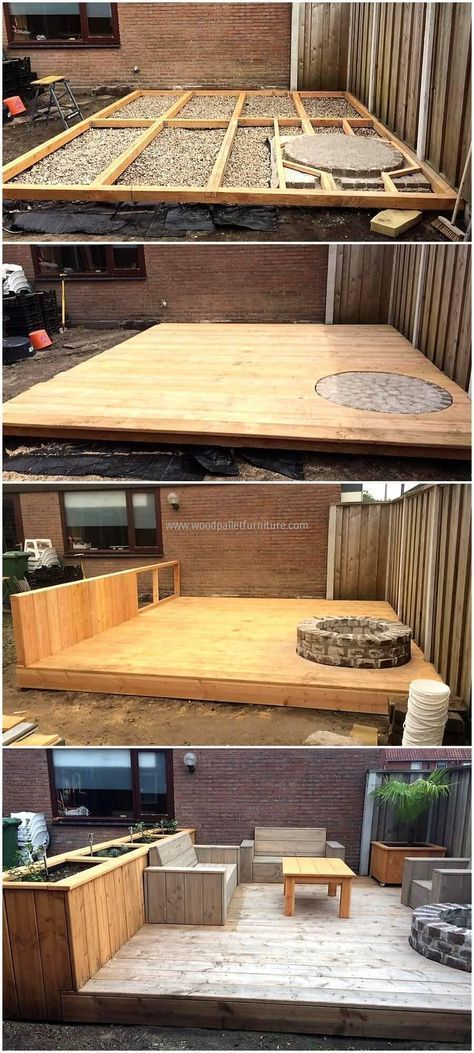 DIY wooden pallets made patio project #WoodProjectsDiyYards