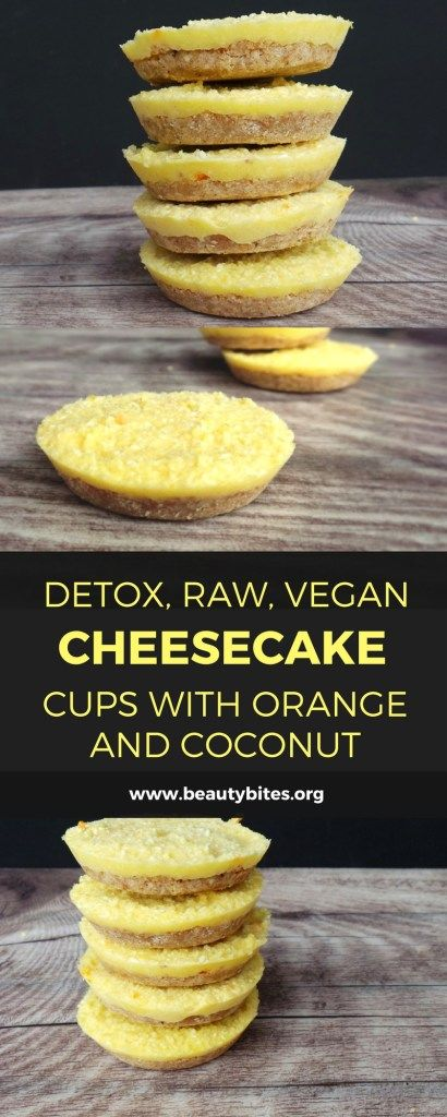 """Mini Detox Raw Vegan Cheesecakes. These saved me during my """"detox diet"""" week - delicious raw vegan mini cheesecakes! They're sweetened only with orange (if you don't bother making the crust) and they taste very refreshing. If you think you can only drink smoothies during a detox, you're not doing it right. Seriously. This vegan """"cheesecake"""" recipe is gluten-free, raw and full of antioxidants!"""