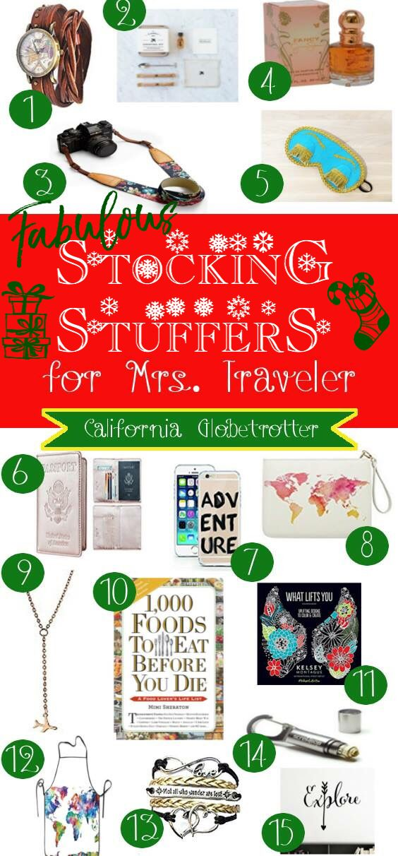 FABULOUS Stocking Stuffers for Mrs. Traveler - Christmas Gifts for her - Awesome gifts for wife, daughter, girlfriend - Gifts for travelers - Female travel gifts - California Globetrotter
