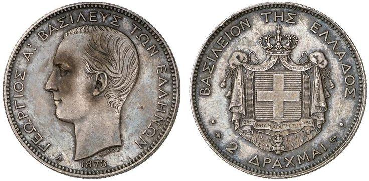 AR 2 Drachmai. Greece Coins. George I. 1863-1913. 1873A. 10,01g. KM 39. Good VF. Price realized 2011: 325 USD.