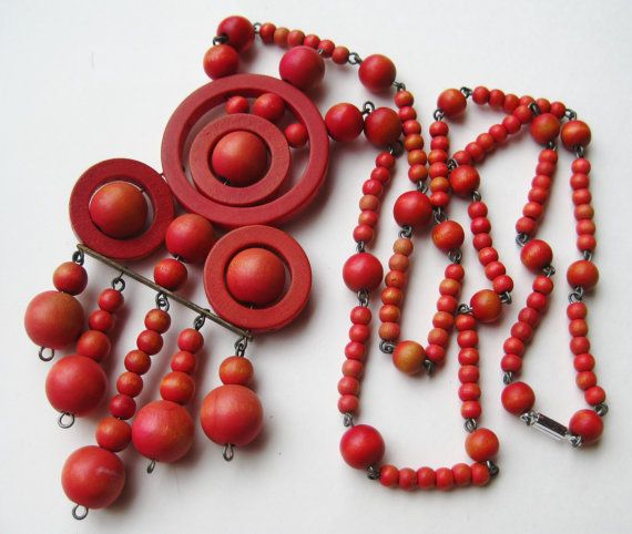 Vintage Aarikka Modernist Finland Red Wooden Ball by SoCalJewelBox