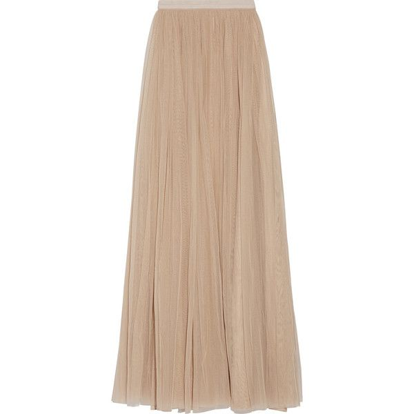 Needle & Thread Tulle maxi skirt found on Polyvore featuring skirts, saias, beige, long layered skirt, beige skirt, floor length tulle skirt, long tulle skirt and long fitted skirts