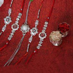 Send online sets of five silver rakhi for your dearest brother | sendrakhi.com  #Kid'srakhi #fancyrakhi #Designerrakhi #silverrakhi