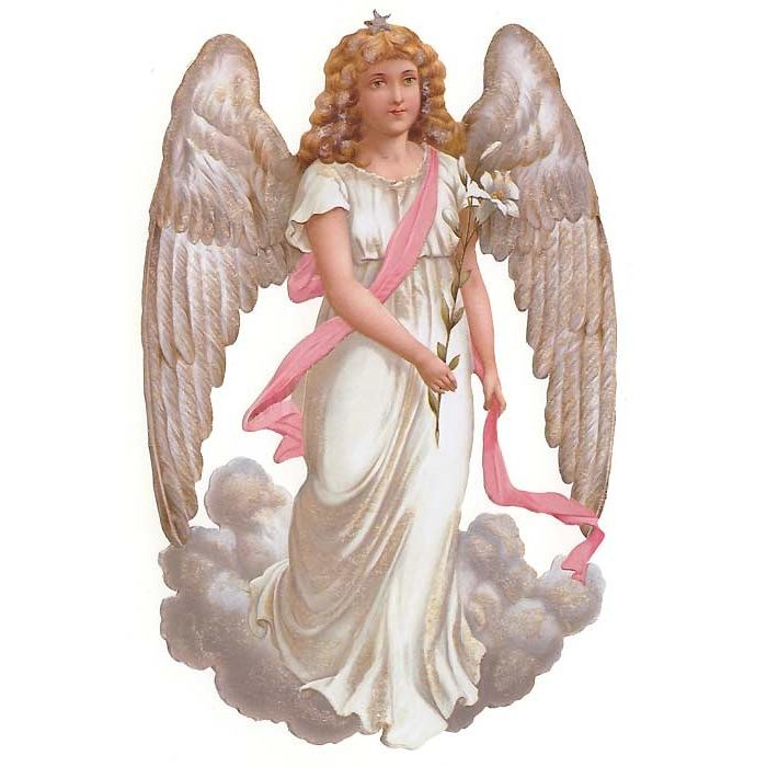 Curly Haired Angel Large Scrap Germany Christmas 2