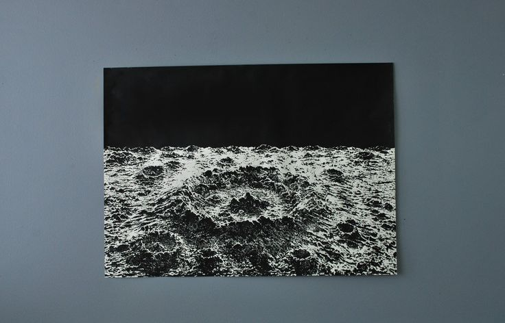 "Large Crater SilkScreen Poster, Moon Crater. Large silkscreen crater image with nice crisp black and white contrast. Nice clean minimal look ready to hang as-is or can be framed up. Nice dark ink printed on white drawing paper. Measures: 28"" x 39""."