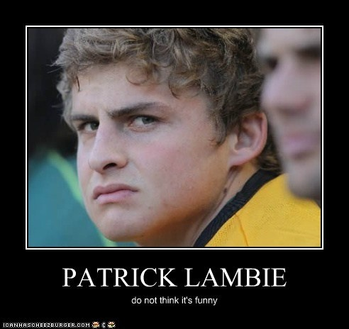Patrick Lambie doesn't think it's funny