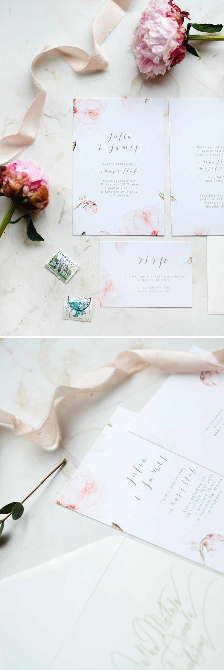 Peony Wedding Invitations beautiful watercolor stationery by Love Prints