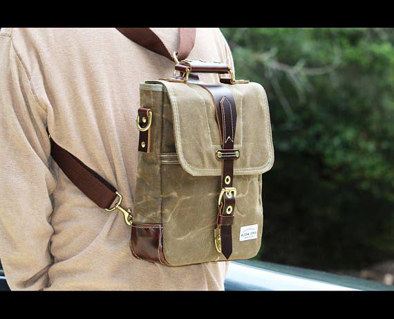 Waxed Canvas vertical Messenger bag  convertible bag